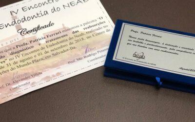 IV Encontro de Endodontia NEAB – 31 agosto e 01 setembro 2018